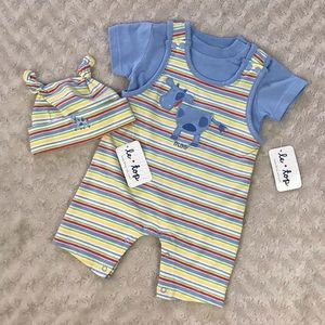 Le Top Baby Outfit Cow Stripes 3 Months Blue